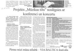 """Projekts """"Mūzikas tilts"""" noslēgsies ar knferenci un koncertu"""